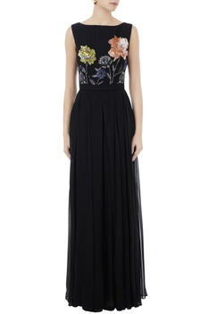 Black georgette, organza & crepe hand crafted colorful sequin & bead work jumpsuit