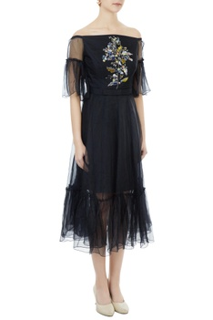 Black tafetta & organza hand crafted colorful sequin & bead work off-shoulder dress