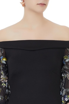 Black scuba & organza hand crafted colorful sequin & bead work fitted off-shoulder dress