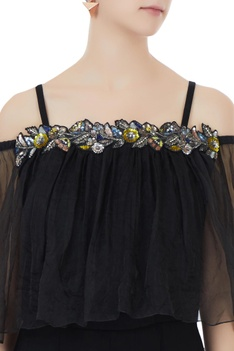 Black crepe, georgette & organza hand crafted colorful sequin, bead work & nakshi jumpsuit