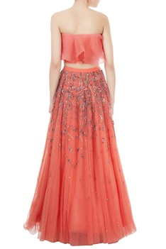 Peach organza & net hand crafted stone bead sequin & nakshi work lehenga with blouse