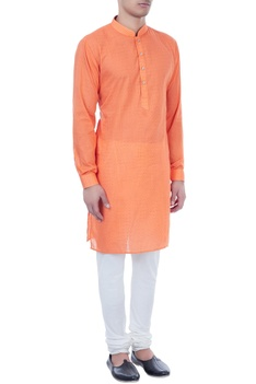 Orange check pattern cotton kurta