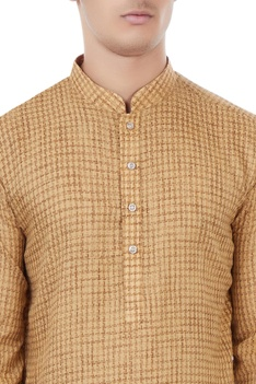 Beige houndstooth pattern classic kurta