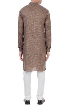 Grey cotton houndstooth pattern kurta