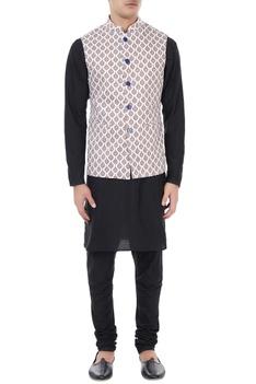 White & blue ethnic printed nehru jacket