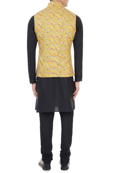 Yellow floral printed nehru jacket