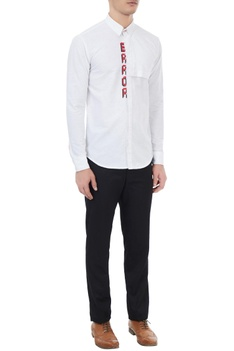 White cotton error embroidered shirt