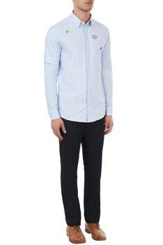 Light blue cotton embroidered shirt