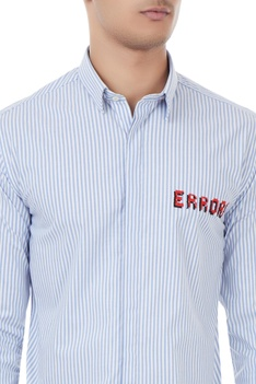 Blue & white cotton error cross stitch & striped shirt