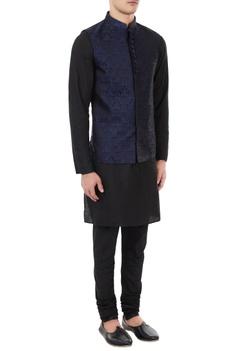 Black & navy blue silk brocade bundi with kurta & churidar