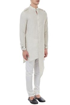 Beige linen button down asymmetric kurta