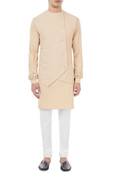 Champagne-beige kurta with attached waistcoat