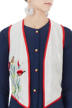 Navy blue button down kurta with jacket