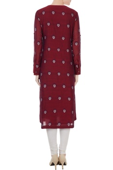 Maroon cotton jamdani ladybug weave tunic