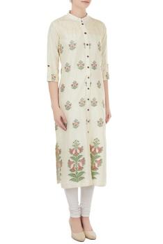 Off white silk jamdani floral weave tunic