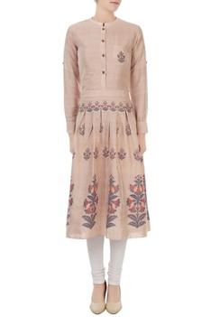 Mauve silk jamdani floral weave tunic