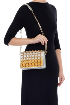 Gold & silver square knot style clutch with detachable handle