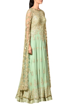Mint green embroidered bodice gown