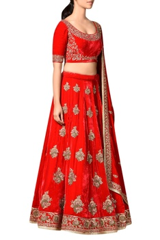 Red viscose velvet embroidered lehenga with blouse & dupatta