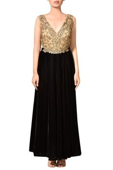 Black & gold velvet flared gown