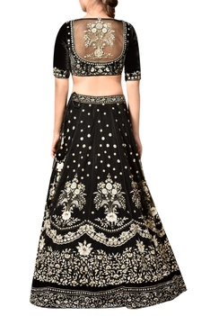 Black viscose velvet embroidered lehenga with blouse & dupatta