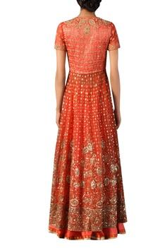Coral aari work hand embroidered kurta set