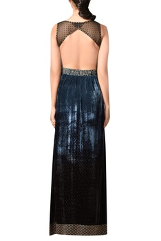 Indigo blue velvet & silk gown with embroidered yoke