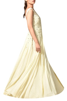 Off-white floral embroidered viscose georgette gown