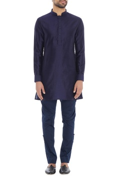 Navy blue spun silk short kurta