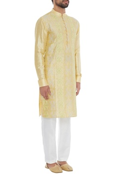 Yellow raw silk embroidered classic kurta