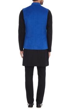 Royal blue suede nehru jacket