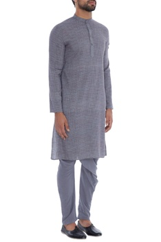 Grey check organic cotton & bamboo fabric kurta