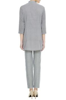 Grey organic cotton & bamboo fiber choker style kurta