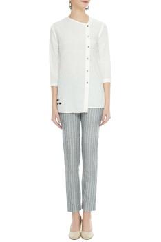 White hand-woven organic cotton & bamboo shirt
