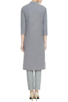 Grey organic cotton & bamboo fabric long jacket
