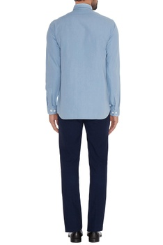 Light blue cotton machine embroidered slim fit shirt