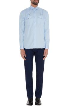 Light blue cotton suspender work slim fit shirt