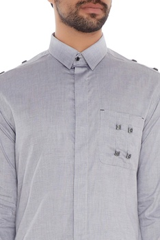 Light grey cotton metallic accent slim fit shirt