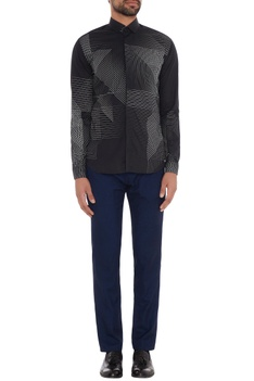Black cotton printed slim fit shirt