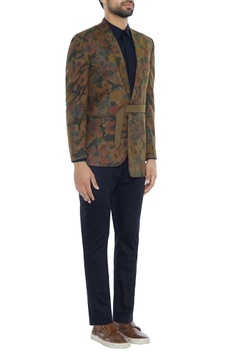 Green oriental floral kimono style jacket with attached belt & pants