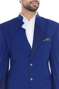 German blue contrast patterned lapel blazer with pants