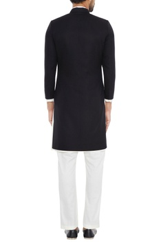 Black diagonal cut jacket with asymmetric kurta & pants