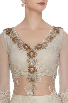 Ivory silk & lace parrot motif lehenga with kurta