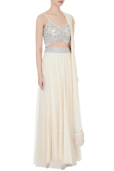 Peach net & cotton silk blouse with lehenga & dupatta