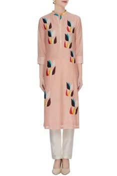 Light peach cotton silk floral patchwork kurta
