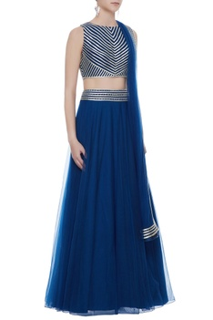 Teal blue silk crepe & net hand embroidered blouse with lehenga & dupatta