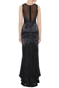Black silk georgette hand bead embroidered mermaid gown