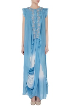 Ash blue zardozi work asymmetrical top with draped dhoti skirt