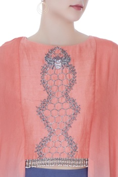 Neon pink & teal grey honeycomb embroidery crop top with cowl pants