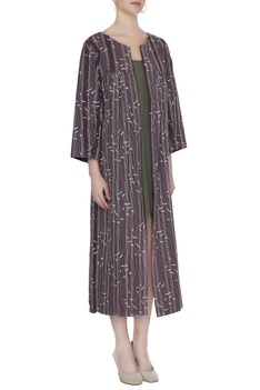 Wine organic poplin thread lines & sparrow print jacket